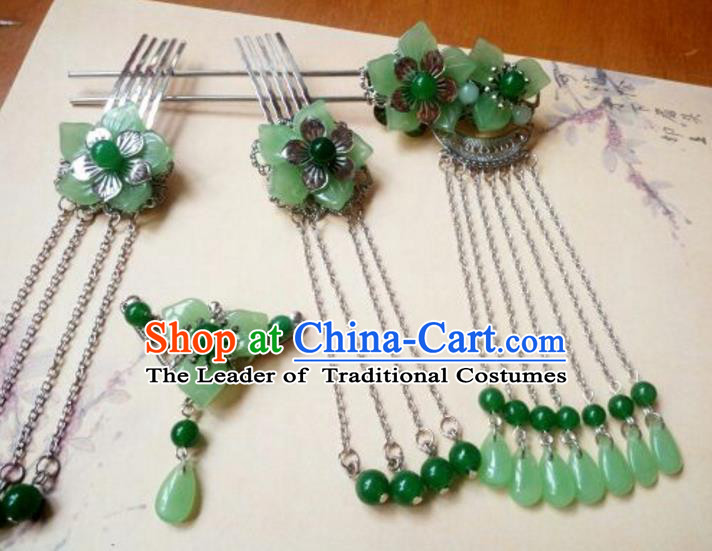 Traditional Handmade Chinese Ancient Classical Hair Accessories Green Jade Tassel Hairpin Complete Set Headwear Hair Stick for Women