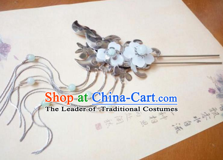 Traditional Handmade Chinese Ancient Classical Hair Accessories White Jade Hairpins Tassel Step Shake for Women