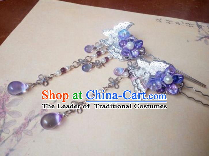 Traditional Handmade Chinese Ancient Classical Hair Accessories Purple Flowers Hairpins Tassel Step Shake for Women