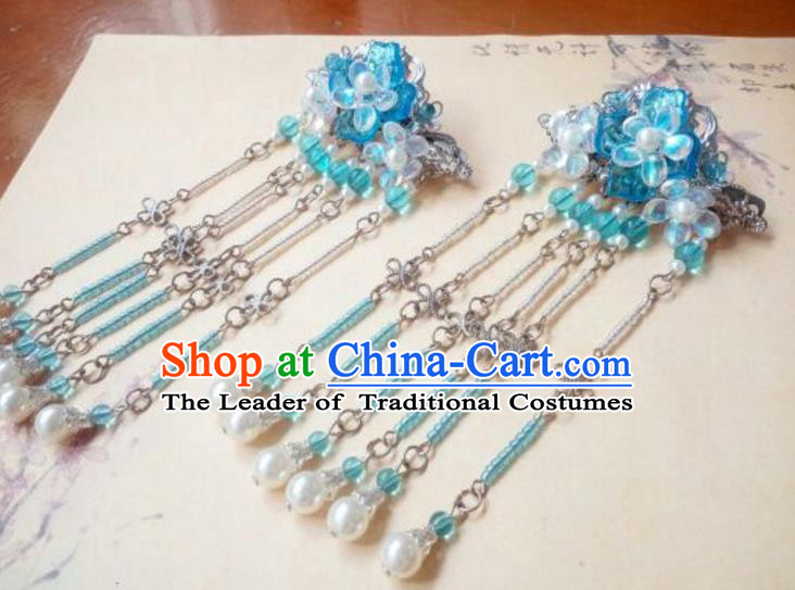 Traditional Handmade Chinese Ancient Classical Hair Accessories Blue Coloured Glaze Tassel Hair Stick Headwear for Women