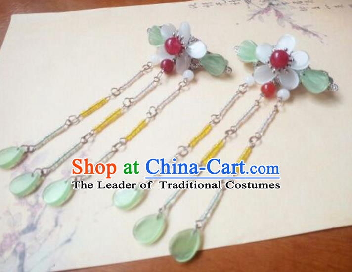 Traditional Handmade Chinese Ancient Classical Hair Accessories Tassel Hairpins Step Shake Headwear for Women