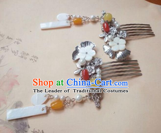 Traditional Handmade Chinese Ancient Classical Hanfu Hair Accessories Tassel Hair Comb, Princess Palace Lady Hairpins Hair Stick for Women