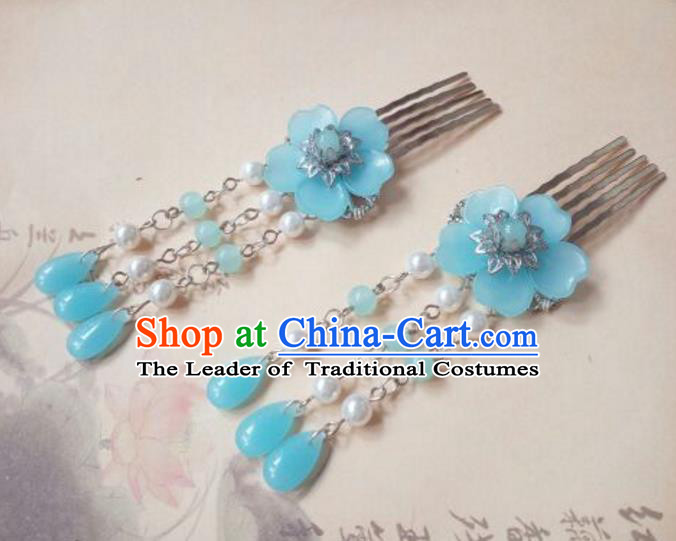 Traditional Handmade Chinese Ancient Classical Hanfu Hair Accessories Blue Flower Tassel Hair Comb, Princess Palace Lady Hairpins Hair Stick for Women