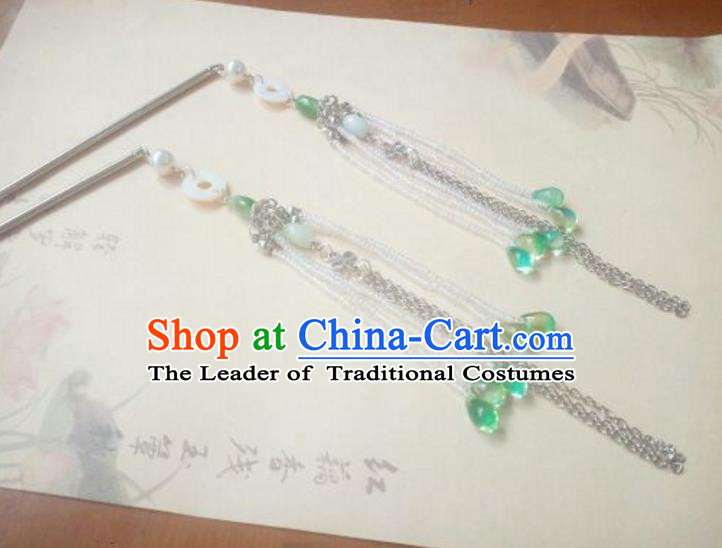 Traditional Handmade Chinese Ancient Classical Hanfu Hair Accessories Green Beads Tassel Step Shake, Princess Palace Lady Hairpins Hair Stick for Women