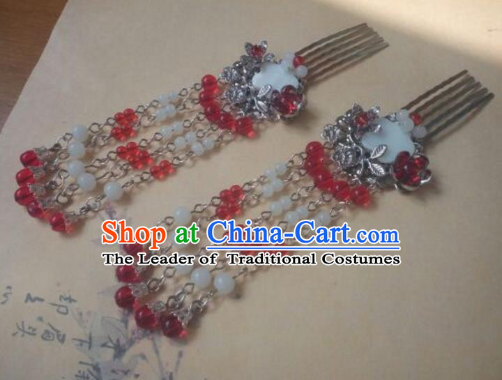 Traditional Handmade Chinese Ancient Classical Hanfu Hair Accessories Tassel Hairpins, Princess Palace Lady Red Tassel Hair Comb for Women