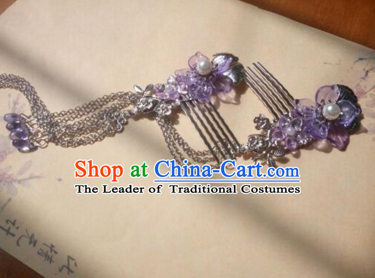 Traditional Handmade Chinese Ancient Classical Hanfu Hair Accessories Hairpins Purple Tassel Hair Comb, Princess Headpiece Palace Lady Hair Stick for Women