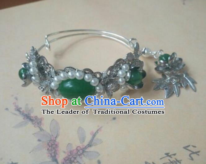 Traditional Handmade Chinese Ancient Classical Hanfu Bracelets, Princess Palace Lady Green Jade Bangle for Women