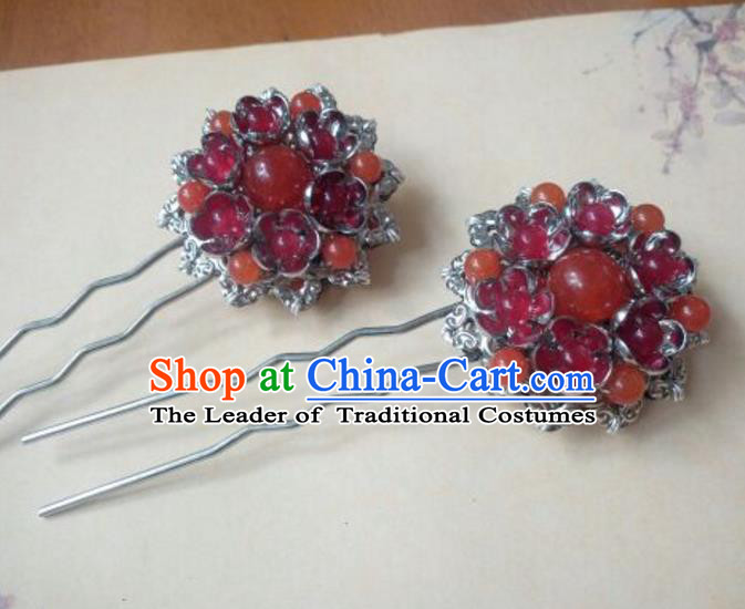 Traditional Handmade Chinese Ancient Classical Hanfu Hair Accessories Red Beads Hairpins, Princess Headpiece Step Shake Hair Fascinators for Women
