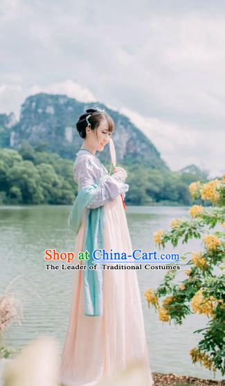 Traditional Ancient Chinese Tang Dynasty Imperial Princess Costume, Elegant Hanfu Clothing Chinese Palace Lady Embroidered Dress Clothing for Women