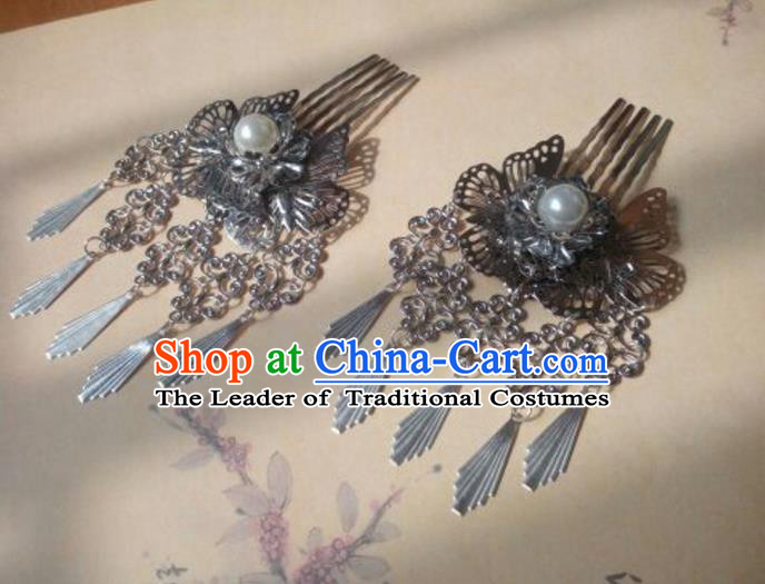 Traditional Handmade Chinese Ancient Classical Hanfu Hair Accessories Hairpins Lotus Butterfly Hair Comb, Princess Palace Lady Step Shake Hair Stick for Women