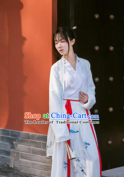 Traditional Ancient Chinese Song Dynasty Young Lady Fairy Costume, Elegant Hanfu Clothing Chinese Princess Embroidered Clothing for Women