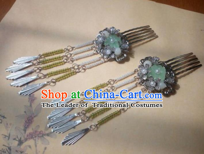 Traditional Handmade Chinese Ancient Classical Hanfu Hair Accessories Hairpins Green Bead Hair Comb, Princess Headpiece Palace Lady Tassel Step Shake Hair Stick for Women