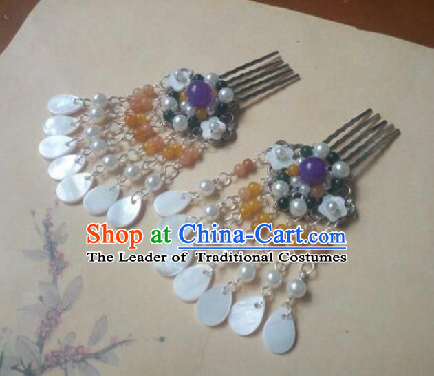 Traditional Handmade Chinese Ancient Classical Hanfu Hair Accessories Palace Lady Tassel Hair Comb, Princess Headpiece Hairpins Hair Fascinators for Women