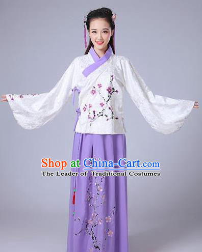 Traditional Asian Oriental China Costume Embroidery Wintersweet White Blouse and Purple Skirt Complete Set, Chinese Ming Dynasty Imperial Princess Embroidered Clothing for Women