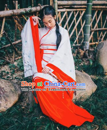 Traditional Asian Oriental China Costume Embroidery Palace Lady Curve Bottom, Chinese Hanfu Han Dynasty Princess Embroidered Clothing for Women