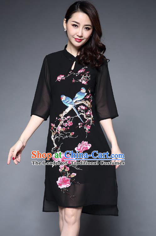 Top Grade Asian Chinese Costumes Classical Embroidery Birds Flowers Cheongsam, Traditional China National Chiffon Chirpaur Dress Black Qipao for Women