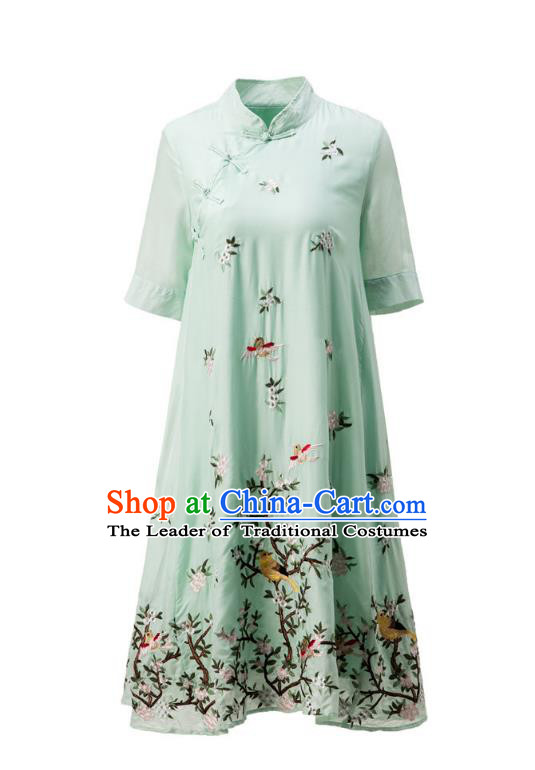 Asian Chinese Oriental Costumes Classical Slant Opening Embroidery Green Cheongsam, Traditional China National Chirpaur Tang Suit Plated Buttons Qipao Dress for Women