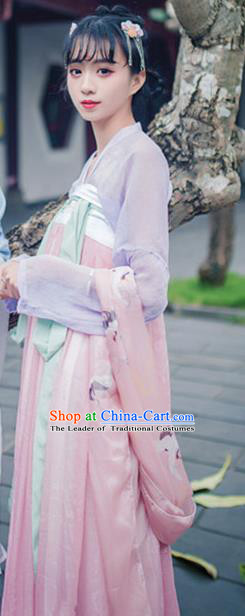 Traditional Asian Oriental China Costume Embroidery Palace Lady Blouse and Pink Skirt Complete Set, Chinese Hanfu Tang Dynasty Princess Embroidered Dress for Women