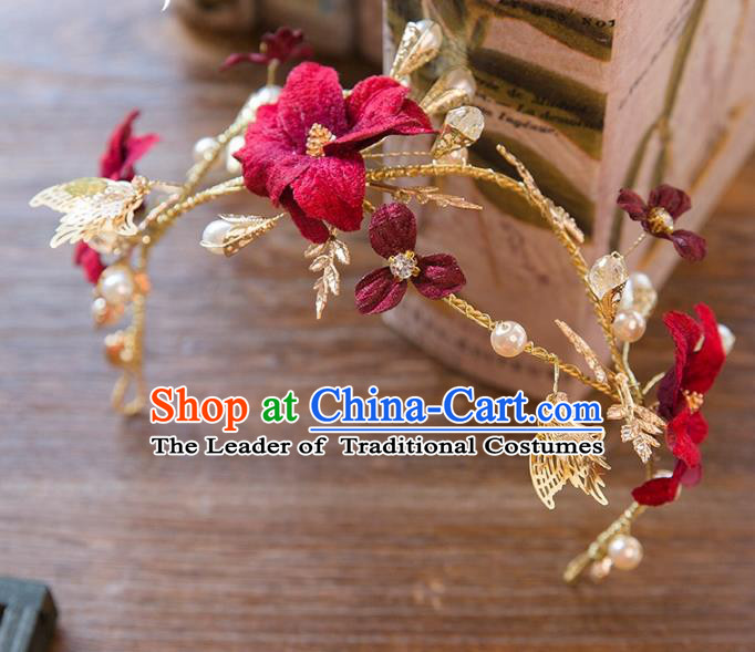 Top Grade Handmade Classical Hair Accessories Baroque Style Princess Red Flower Butterfly Hair Clasp Headwear for Women