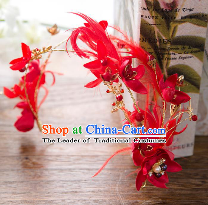 Top Grade Handmade Classical Hair Accessories Baroque Style Princess Red Feather Flower Hair Clasp Headwear for Women