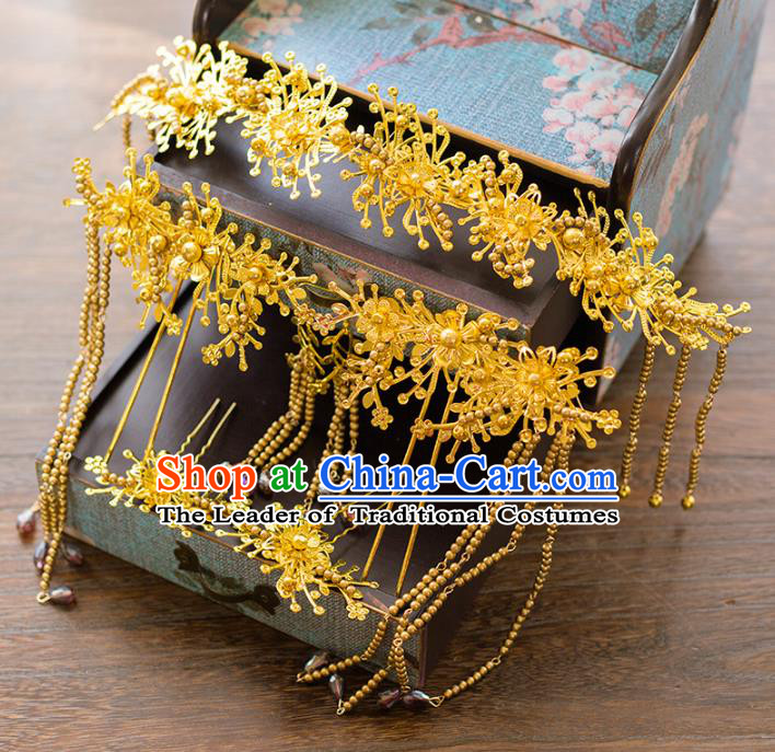 Aisan Chinese Handmade Classical Hair Accessories Tassel Golden Phoenix Coronet Complete Set, China Xiuhe Suit Hairpins Wedding Headwear for Women
