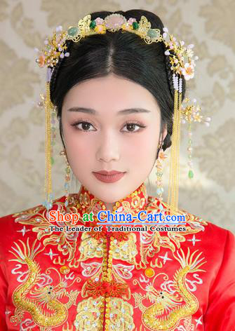 Aisan Chinese Handmade Classical Hair Accessories Phoenix Coronet Complete Set, China Xiuhe Suit Hairpins Wedding Headwear for Women