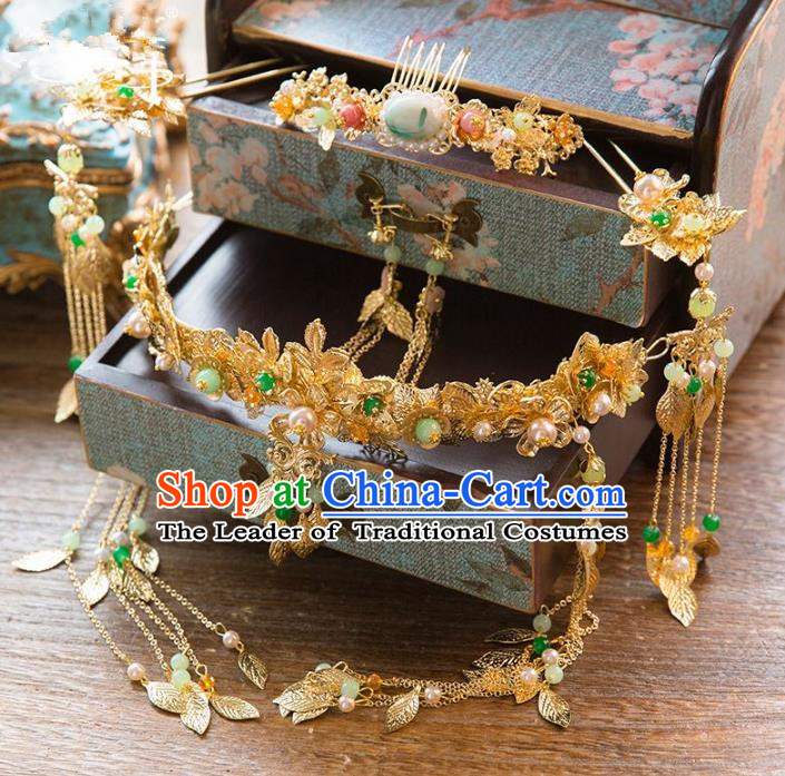 Aisan Chinese Handmade Classical Hair Accessories Hanfu Phoenix Coronet Complete Set, China Xiuhe Suit Hairpins Wedding Headwear for Women