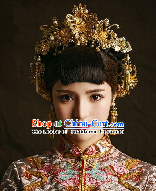Aisan Chinese Handmade Classical Hair Accessories Golden Phoenix Coronet Complete Set, China Xiuhe Suit Hair Stick Hairpins Wedding Headwear for Women