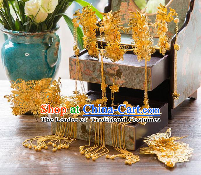 Aisan Chinese Handmade Classical Hair Accessories Golden Butterfly Phoenix Coronet Complete Set, China Xiuhe Suit Hairpins Wedding Headwear for Women