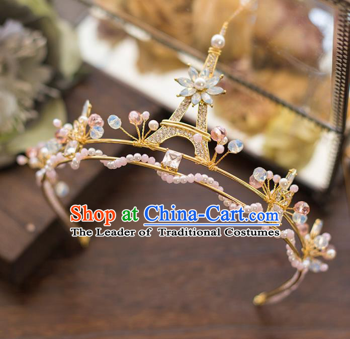 Top Grade Handmade Classical Hair Accessories Baroque Style Princess Crystal Royal Crown Tower Hair Clasp Headwear for Women