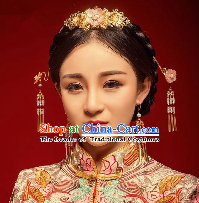 Chinese Handmade Classical Hair Accessories Pink Flower Phoenix Coronet Complete Set, China Xiuhe Suit Hairpins Wedding Headwear for Women