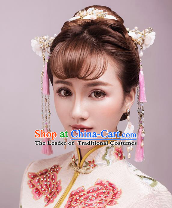Aisan Chinese Handmade Classical Hair Accessories Bride Pink Shell Step Shake Complete Set, China Xiuhe Suit Hairpins Wedding Headwear for Women