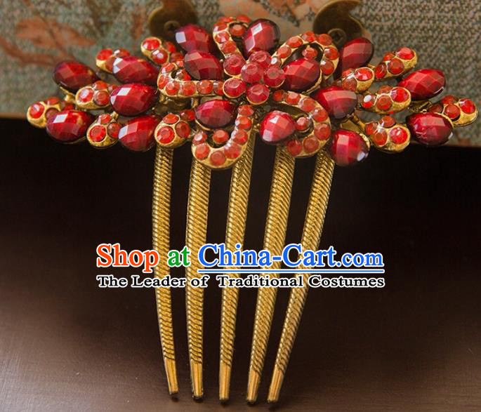 Aisan Chinese Handmade Classical Hair Accessories Bride Red Hair Comb, China Xiuhe Suit Hairpins Wedding Headwear for Women