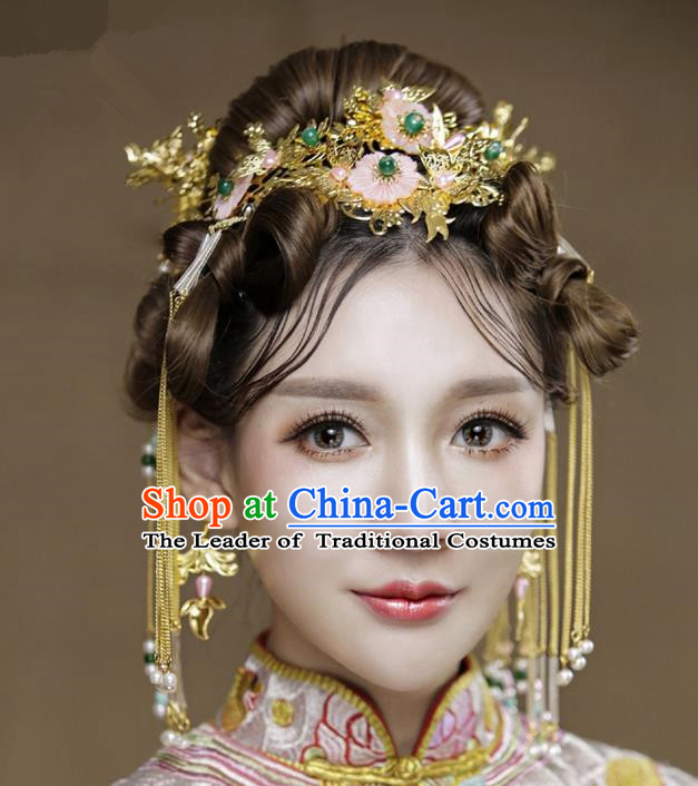 Aisan Chinese Handmade Classical Hair Accessories Bride Pink Flowers Phoenix Coronet Complete Set, China Xiuhe Suit Hairpins Wedding Headwear for Women