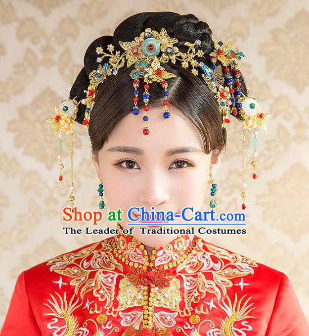 Aisan Chinese Handmade Classical Hair Accessories Bride Phoenix Coronet Complete Set, China Xiuhe Suit Hairpins Wedding Headwear for Women