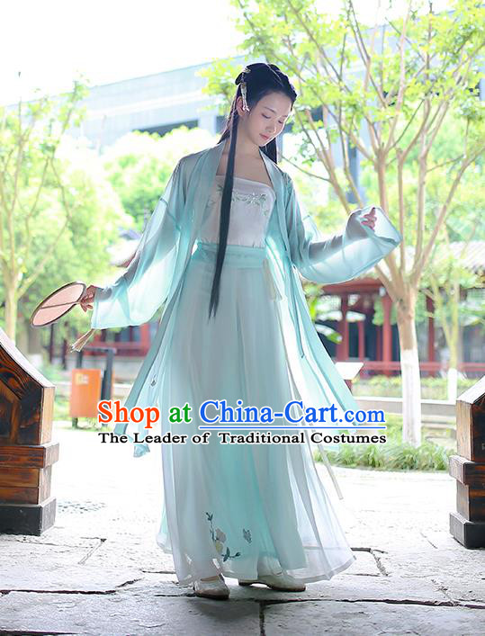 Traditional Asian Chinese Hanfu Swordswoman Costumes Song Dynasty Young Lady Embroidered Blue Cardigan Blouse and Pants Complete Set