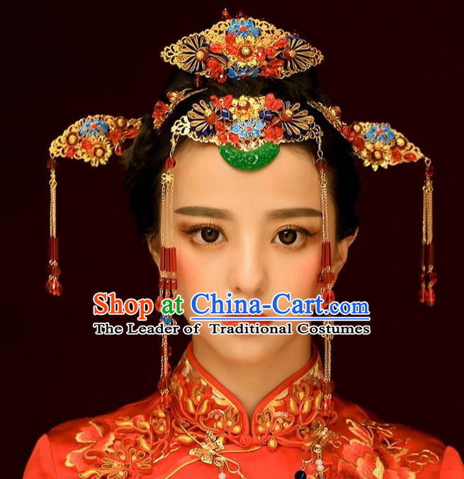 Chinese Handmade Classical Ancient Costume Jade Hair Accessories Complete Set, China Bride Xiuhe Suit Hairpins Blueing Phoenix Coronet Headwear for Women