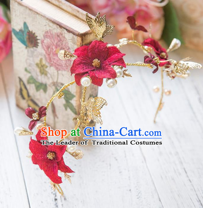 Top Grade Handmade Classical Hair Accessories Red Flowers Hair Clasp, Baroque Style Princess Headband Headwear for Women