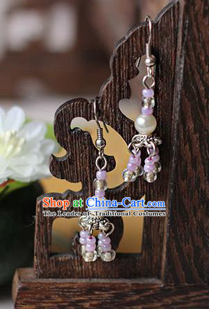 Chinese Handmade Classical Accessories Hanfu Earrings, China Xiuhe Suit Wedding Purple Beads Tassel Eardrop for Women