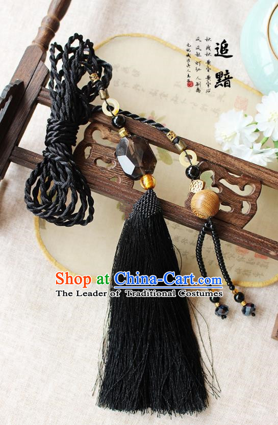 Chinese Handmade Classical Accessories Black Tassel Palace Taeniasis, China Hanfu Waist Pendant Headwear for Women for Men