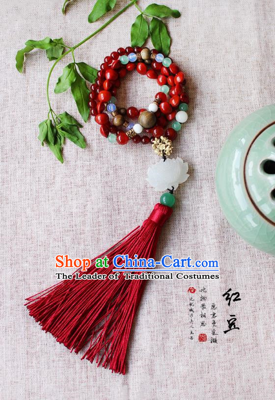 Chinese Handmade Classical Accessories Hanfu Red Beads Tassel Necklace, China Ancient Jade Necklet for Women