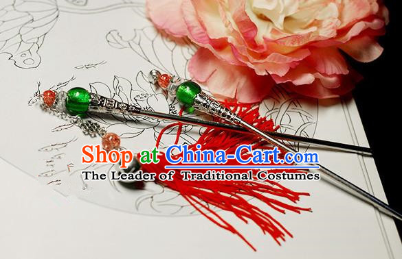 Chinese Handmade Classical Accessories Tassel Hairpin, China Xiuhe Suit Hair Stick Step Shake for Women