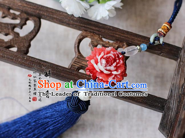 Chinese Handmade Classical Accessories Red Peony Tassel Palace Taeniasis, China Hanfu Waist Pendant Headwear for Women for Men