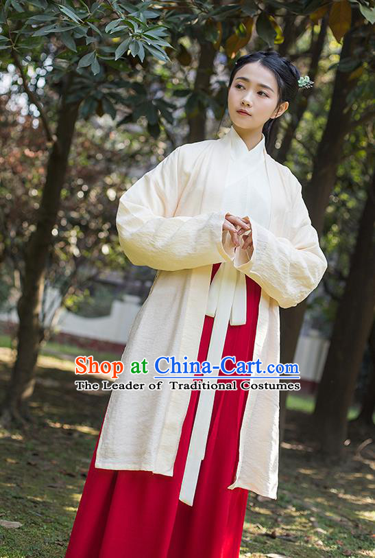 Traditional Chinese Hanfu Costumes Ancient Song Dynasty Young Lady Embroidered BeiZi Blouse and Slip Skirts Complete Set