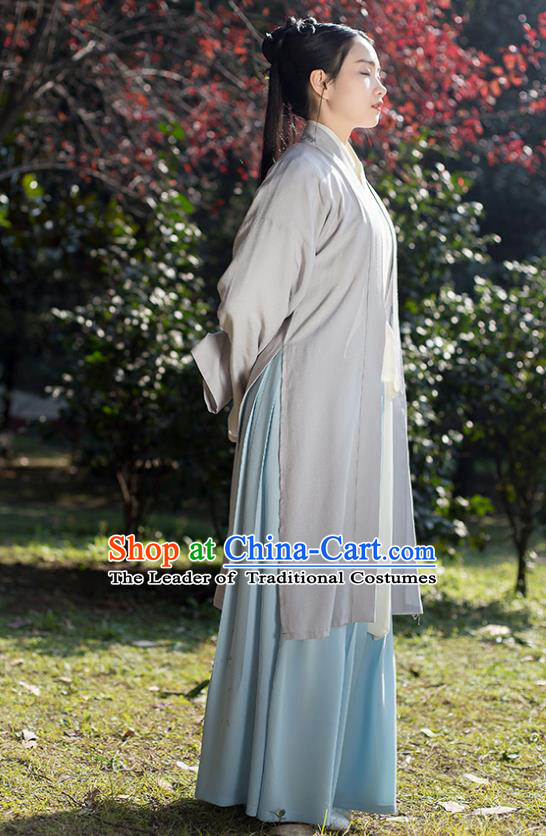 Traditional Chinese Hanfu Costumes Ancient Song Dynasty Young Lady Grey BeiZi Blouse and Slip Skirts Complete Set