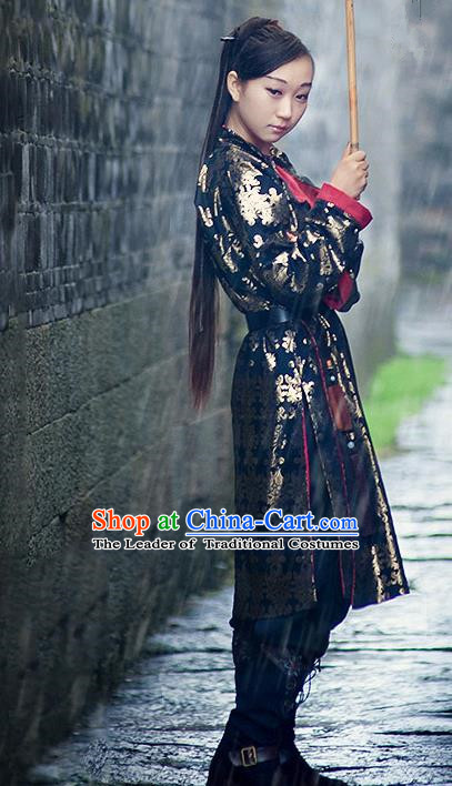Traditional Ancient Chinese Ming Dynasty Swordswoman Costume, Chinese Hanfu Imperial Guards Embroidery Clothing
