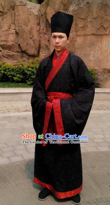 Traditional Asian Chinese Hanfu Scholar Costumes Black Embroidered Robe, China Han Dynasty Officer Embroidered Elegant Clothing for Men