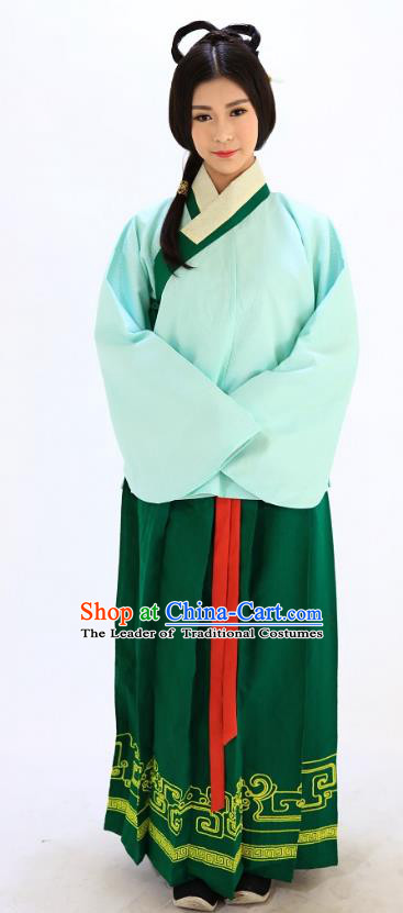 Traditional Chinese Ming Dynasty Young Lady Costumes Ancient Princess Green Embroidered Blouse and Skirt Complete Set for Women