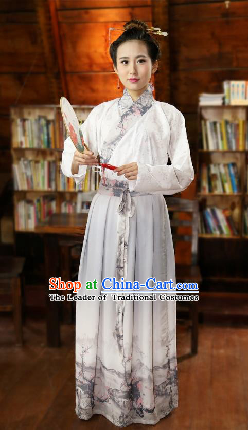 Traditional Chinese Han Dynasty Young Lady Costumes Ancient Princess Printing Grey Skirt for Women
