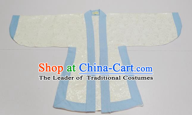 Traditional Chinese Han Dynasty Scholar Costumes Blue Edge Blouse for Kids